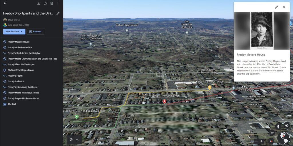 Screen grab of aerial scene over Chillicothe indicating path of Freddy Meyers on his adventure.
